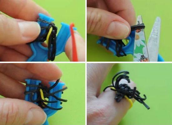 Как плести паука из резинок на рогатке?